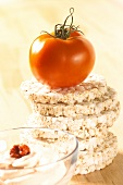 Rice waffles with tomato quark