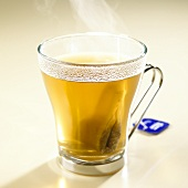 Hot fennel tea with tea bag in glass