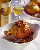 Baked apples with raisins; dessert wine