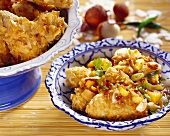 Coconut chicken wings with exotic fruit