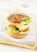Turkey cheeseburger with mayonnaise