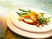 Green bean salad with Schillerlocken