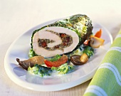 Stuffed chicken breast with chestnuts, savoy and mushrooms