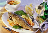 Fried trout with herbs, with kohlrabi & carrots, white wine