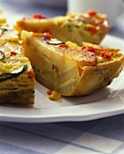 Vegetable tortilla, cut into pieces