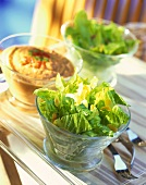 Salad leaves with flaked almonds and tomato dip
