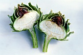Two artichoke halves
