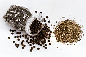 Ground pepper and peppercorns in cellophane bag