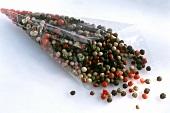 Mixed peppercorns in cellophane bag