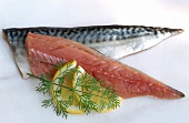 Two mackerel fillets with lemon and dill