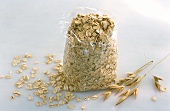 Rolled oats in plastic bag
