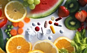 Vitamin tablets and powder, fruit and vegetables
