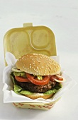 Hamburger in insulated box