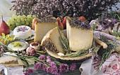Käsestilleben mit Obst und Kräutern