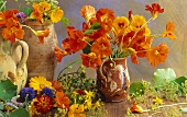 Still life with edible flowers