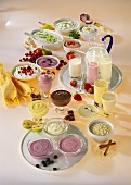 Various savoury and sweet dishes based on dairy products