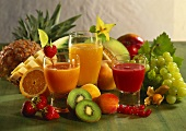 Various fruit juices and fresh fruit