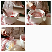 Making strawberry ice cream for children