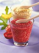 Baby food: plum puree with sesame; couscous & peach puree