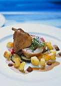 Rabbit leg in sloe and raisin sauce