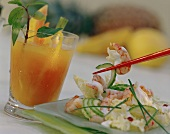 Shrimp salad and vitamin juice