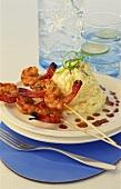 Shrimp kebabs with mashed potato