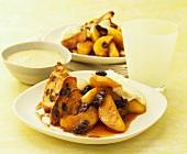 Apples with raisins and cinnamon toast; custard