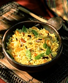 Saffron rice with raisins and mangetouts