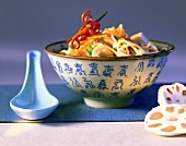 Egg noodles with chicken and lotus roots
