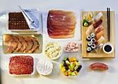 Various foods, tiramisu and sushi platter