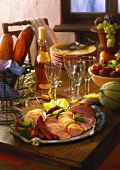 Buffet with cold cuts, fruit, baguette and wine (2()