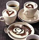 Espresso macchiato with cocoa heart