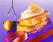 Orange leaves with quark cream and orange segments