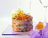 Small salmon cake with keta caviare