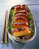 Honeydew melon snacks with smoked duck breast