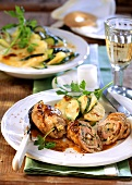 Veal roulades with courgette and potato gratin