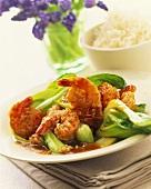 Sesame shrimps with pak choi; rice