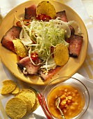 Roast beef salad with chili and tortilla chips