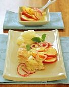 Turkey escalope with apple and onion sauce and mashed potato