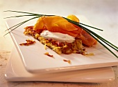 Rosti with smoked salmon and sour cream