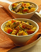 Pistachio rice with curried chicken and carrots