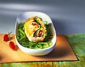 Stuffed turkey escalope with nasi goreng on mangetouts
