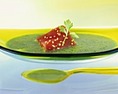 Herb soup with tuna