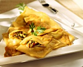 Ravioli with fish and herb filling