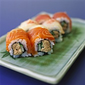 Sushi with salmon, tuna and cucumber