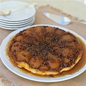 Pear tart with caramel sauce
