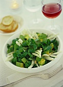 Corn salad with avocado, fennel and pine nuts