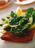 Chicory salad with green asparagus, egg and lemon