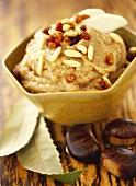 Chestnut cream with raisins and pine nuts
