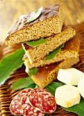 Chestnut flour focaccia; salami; cheese